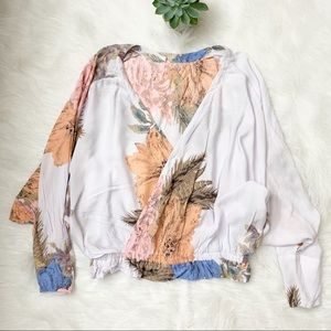 Free People Long Sleeve Wrap Floral Blouse Small